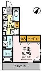 JR京浜東北・根岸線 大宮駅 徒歩19分の賃貸アパート 2階1Kの間取り
