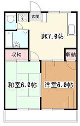 東京都東村山市萩山町2丁目の賃貸アパートの間取り