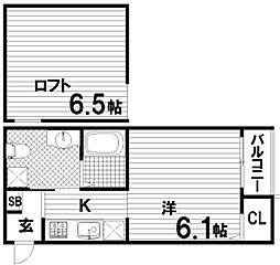 兵庫県神戸市長田区海運町8丁目の賃貸アパートの間取り