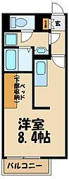 JR横浜線 相原駅 徒歩17分の賃貸アパート 1階ワンルームの間取り