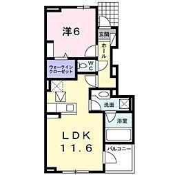 神奈川県横浜市栄区中野町の賃貸アパートの間取り