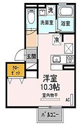埼玉県さいたま市大宮区堀の内町2丁目の賃貸アパートの間取り