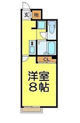 東武越生線 東毛呂駅 徒歩12分の賃貸アパート 1階1Kの間取り
