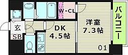 クレアート大阪イーストG4 5階1DKの間取り
