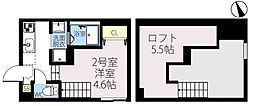 JR常磐線 新松戸駅 徒歩11分の賃貸アパート 2階ワンルームの間取り