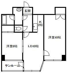北海道札幌市中央区南一条西9丁目の賃貸マンションの間取り