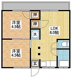 長崎県長崎市八つ尾町の賃貸アパートの間取り
