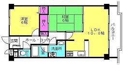 兵庫県高砂市神爪2丁目の賃貸マンションの間取り