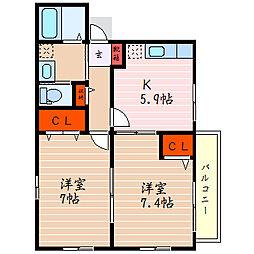 滋賀県彦根市本町1丁目の賃貸アパートの間取り