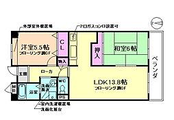 大阪府豊中市上津島2丁目の賃貸マンションの間取り