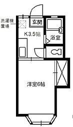 岡山県倉敷市西尾の賃貸アパートの間取り