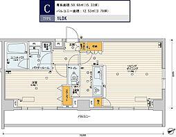 スカイコートパレス芝浦 5階1LDKの間取り