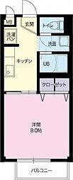 岐阜県関市戸田の賃貸アパートの間取り