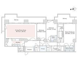 東京メトロ南北線 六本木一丁目駅 徒歩1分の賃貸マンション 24階3LDKの間取り