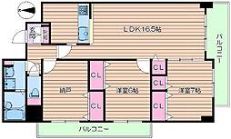 北大阪急行電鉄 桃山台駅 徒歩11分の賃貸マンション 4階3LDKの間取り