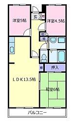 大阪府松原市一津屋3丁目の賃貸マンションの間取り