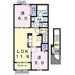 サニーハイムA[2階]の間取り