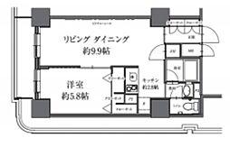 HF駒沢公園レジデンスTOWER 2階1LDKの間取り
