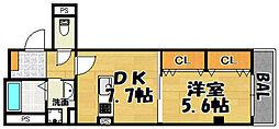 阪急京都本線 上新庄駅 徒歩4分の賃貸マンション 2階1DKの間取り