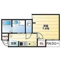 Osaka Metro御堂筋線 北花田駅 徒歩10分の賃貸マンション 3階1Kの間取り