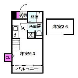 Osaka Metro今里筋線 太子橋今市駅 徒歩3分の賃貸アパート 2階1Kの間取り
