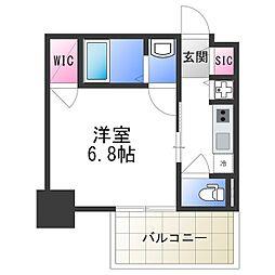 エスリード大阪上本町レジェーロ 3階1Kの間取り