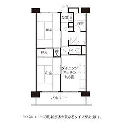 東京メトロ東西線 西葛西駅 徒歩16分の賃貸マンション 6階2DKの間取り