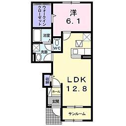 リヴァーサ鶴川 1階1LDKの間取り