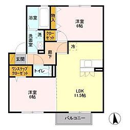 サニーハウスA棟[2階]の間取り