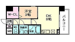 スプランディッドII 6階1DKの間取り