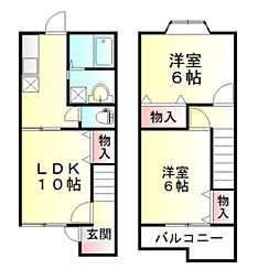 東武東上線 東松山駅 バス10分 丸貫下車 徒歩5分の賃貸テラスハウス 1階2LDKの間取り