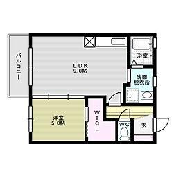 福岡県福岡市博多区竹下5丁目の賃貸アパートの間取り