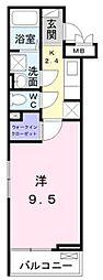 小田急江ノ島線 東林間駅 徒歩9分の賃貸アパート 2階1Kの間取り