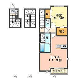 愛知環状鉄道 六名駅 徒歩15分の賃貸アパート 3階1LDKの間取り