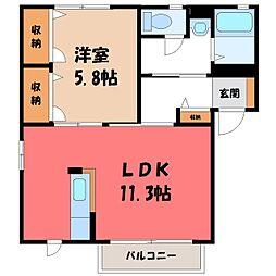 栃木県下野市大光寺1丁目の賃貸アパートの間取り