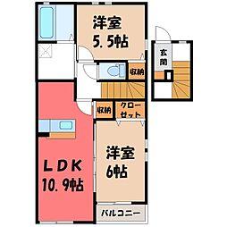コスモスII J 2階2LDKの間取り