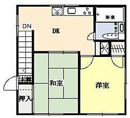 JR埼京線 北与野駅 徒歩4分の賃貸アパート 3階2DKの間取り