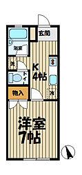 弥生ハイツ[1-D号室]の間取り