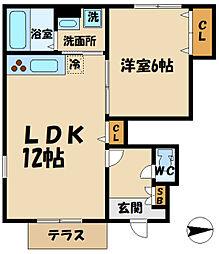 京王線 東府中駅 徒歩8分の賃貸アパート 1階1LDKの間取り