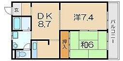 植木マンション[203号室]の間取り