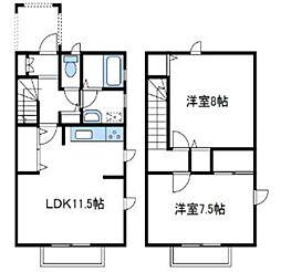 [テラスハウス] 神奈川県厚木市戸室4丁目 の賃貸【神奈川県 / 厚木市】の間取り