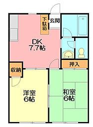 神奈川県平塚市出縄の賃貸アパートの間取り