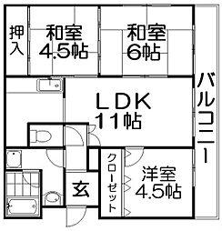 古川シティハイツ[5階]の間取り