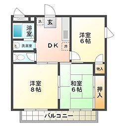 愛知県豊橋市牟呂市場町の賃貸アパートの間取り