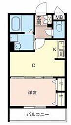 シャーメゾン北花田 3階1DKの間取り