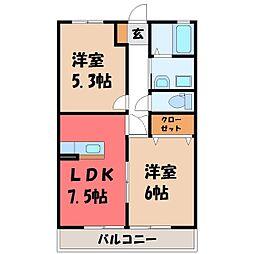 栃木県宇都宮市清原台3丁目の賃貸マンションの間取り