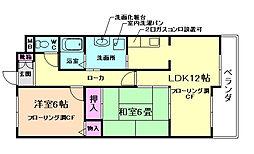大阪府豊中市永楽荘4丁目の賃貸マンションの間取り