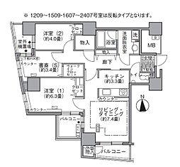 JR山手線 浜松町駅 徒歩3分の賃貸マンション 16階2SLDKの間取り