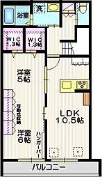 仮称 平戸町メゾンA棟 2階2LDKの間取り