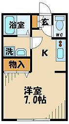 Ambition聖蹟桜ヶ丘2 1階ワンルームの間取り